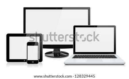 Computer monitor, laptop, tablet pc,  and mobile smartphone with a blank screen. Isolated on a white. 3d image 	 - stock photo