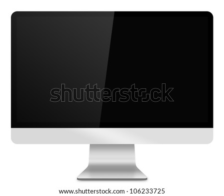 Computer Monitor, like appled with blank screen. Isolated on white background. - stock photo
