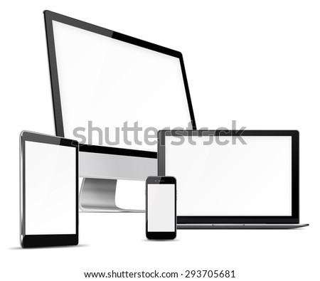 Computer monitor, mobile phone, laptop and tablet pc with blank screen isolated on white background. Highly detailed illustration.