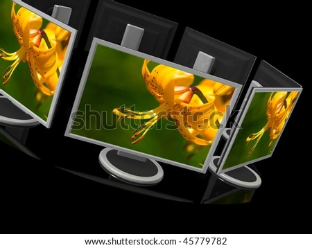 Computer monitor on black background . 3d render - stock photo