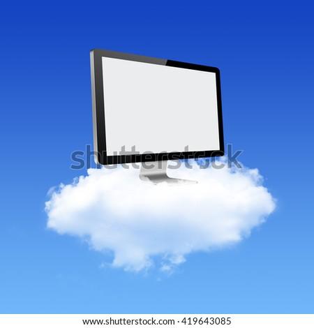 Computer Monitor on Cloud Computing Network - stock photo