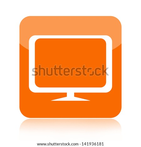 Computer monitor or television icon - stock photo