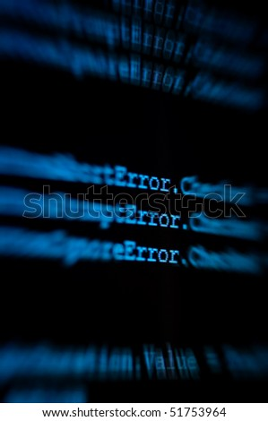 computer monitor showing code zooming in on the word error - stock photo
