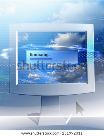 Computer Monitor Showing Download Progress - stock photo