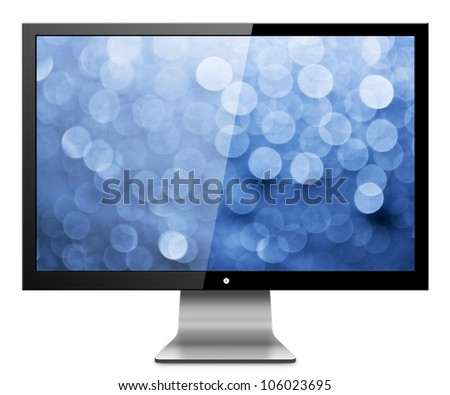 Computer Monitor with abstract blur screen. Isolated on white background - stock photo