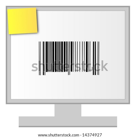 computer monitor with barcode and sticky note - stock photo
