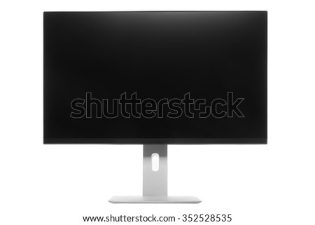 Computer Monitor with black screen. Isolated on white background. - stock photo