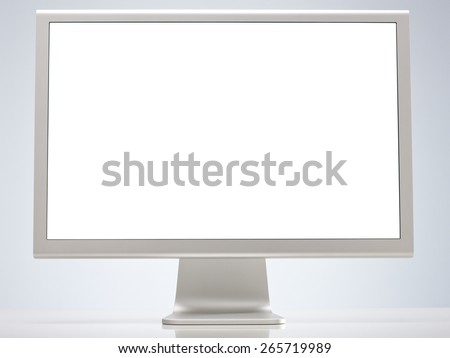 Computer Monitor with Blank Screen Isolated on White Background. Front View with Real Shadow - stock photo