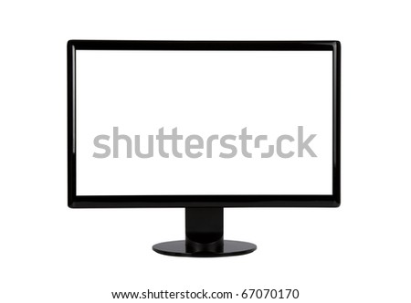 Computer Monitor with blank white screen. Isolated on white background. Includes clipping path for monitor outline and screen. - stock photo