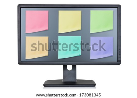 Computer monitor with color note papers , isolated on white background  - stock photo
