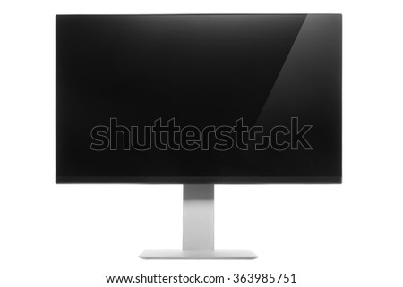 Computer Monitor with glossy screen and reflection. Isolated on white background.