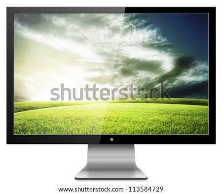Computer Monitor with green field screen. Isolated on white background. - stock photo
