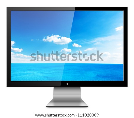 Computer Monitor with sea scape screen. Isolated on white background. - stock photo