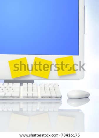 Computer monitor with sticky notes with copyspace to put your own text - stock photo