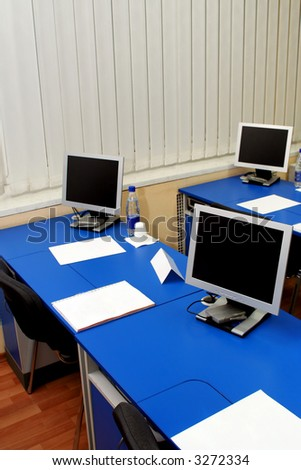 Computer monitors in the study room