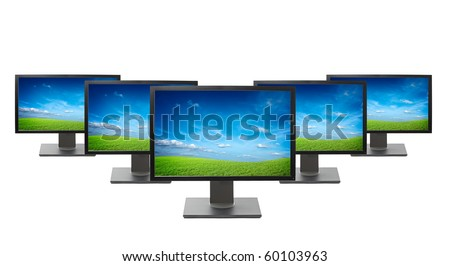 Computer monitors isolated on white background - stock photo