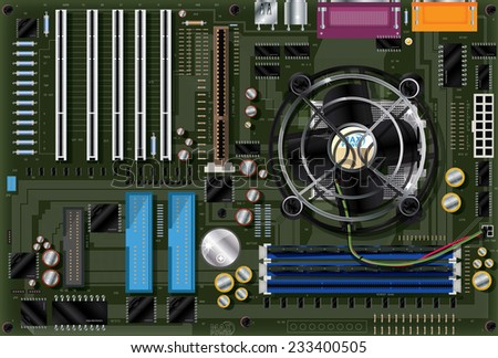 Computer motherboard. A Computer Main motherboard with resistors,transistors,CPU, fan and electronic etching all mounted on a green printed circuit board. - stock photo