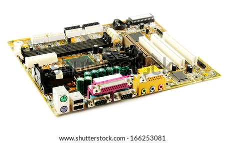 Computer motherboard, isolated on white background .