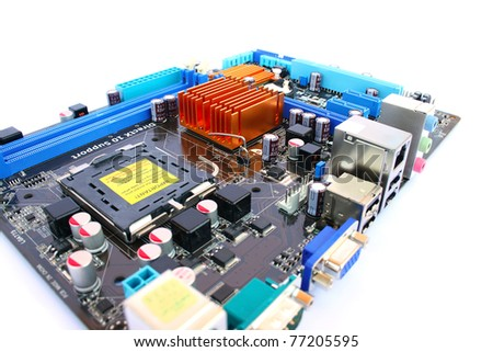 Computer motherboard isolated on white background. - stock photo