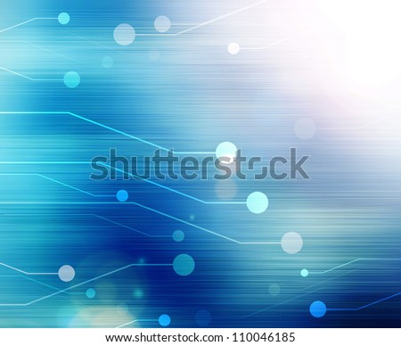 computer motherboard on a blue background, abstract - stock photo