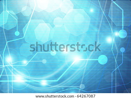 computer motherboard on a blue background with a simulation of the light rays and glare