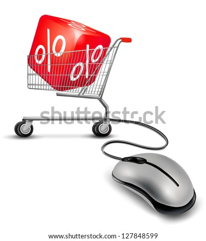 Computer mouse and a shopping cart with cube in it. concept of discount. Raster version. - stock photo