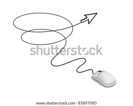 Computer mouse and arrow cursor, Internet concept - stock photo