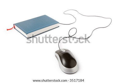 computer mouse and book, concept of online education - stock photo