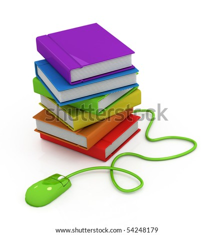 Computer mouse and books - stock photo