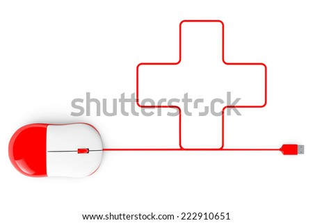 Computer mouse and cables in form of cross on a white background - stock photo