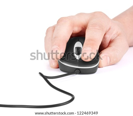 Computer Mouse, and hand close up - stock photo