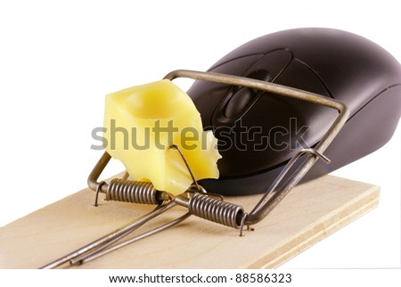 Computer mouse and mousetrap isolated on white background - stock photo