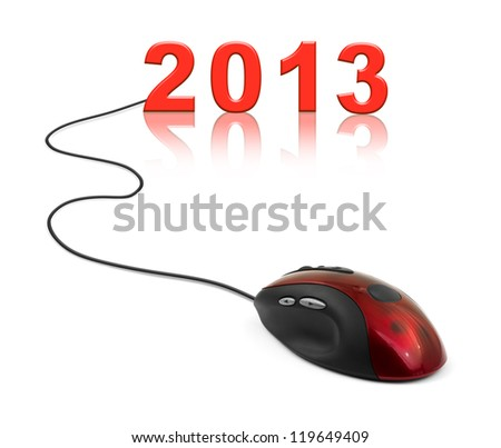 Computer mouse and 2013 - new year concept - stock photo