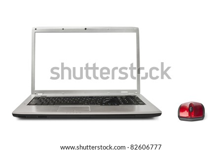 Computer mouse and notebook isolated on white background - stock photo