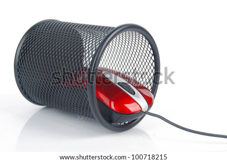 Computer mouse and pot - stock photo