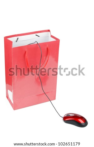 Computer mouse and shopping bag - stock photo