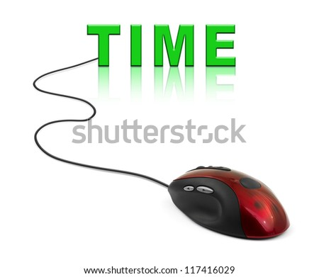 Computer mouse and word Time - business concept - stock photo