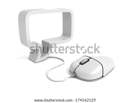 Computer mouse cable to speech bubble symbol
