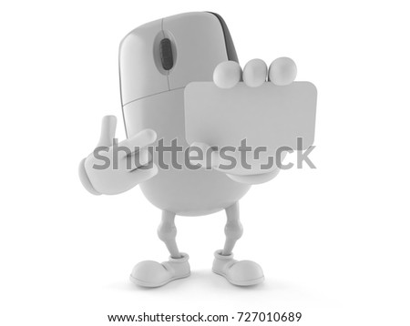 Computer mouse character holding blank business card isolated on white background. 3d illustration