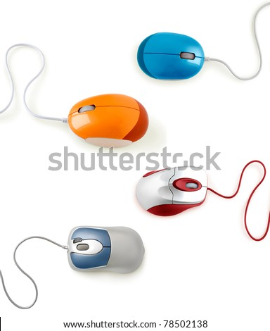 computer mouse collection isolated on white - stock photo