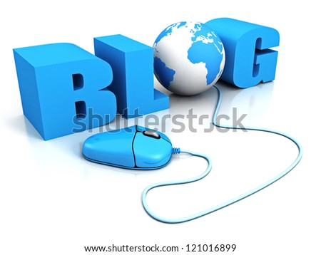 computer mouse connect to word BLOG with earth globe - stock photo