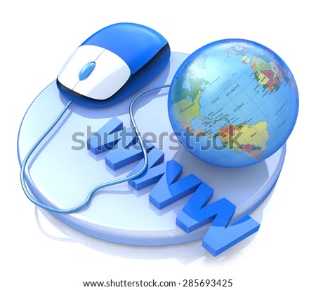 Computer mouse connected to a globe. 3d illustration WWW concept in the design of the information associated with the global communications on the Internet - stock photo