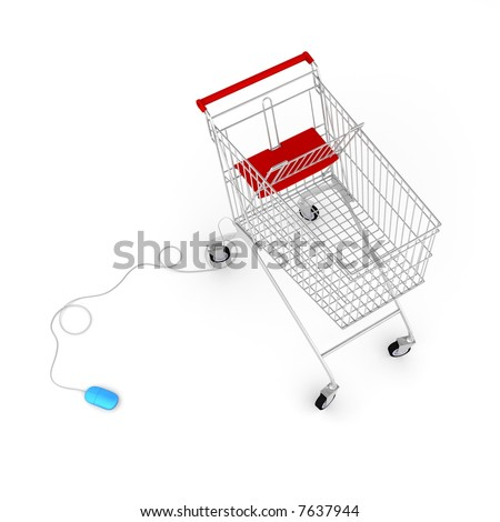 Computer mouse connected to a  shopping cart via cable - stock photo