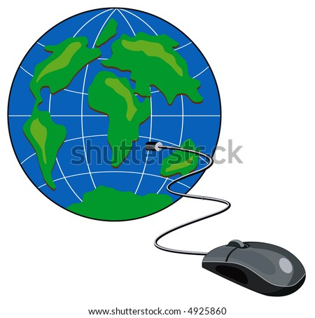 Computer mouse connected to a stylized globe
