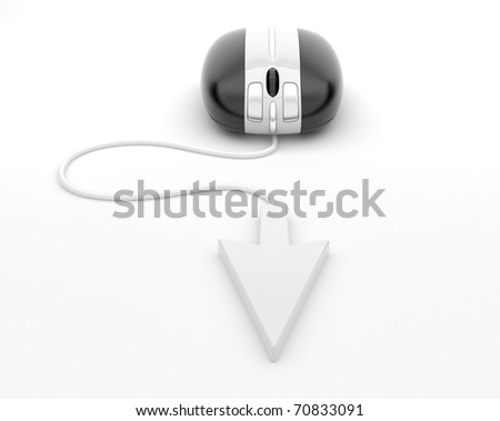Computer mouse.  3d illustration, on background white - stock photo