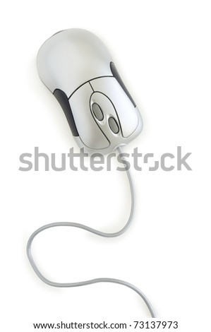 computer mouse grey color isolated on white - stock photo