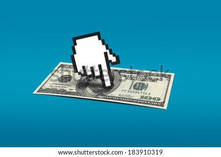 Computer mouse hand cursor icon pointing one hundred dollar banknote on blue background. - stock photo
