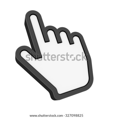 Computer Mouse Hand Cursor - Isolated on White Background - High Quality 3D Render - stock photo