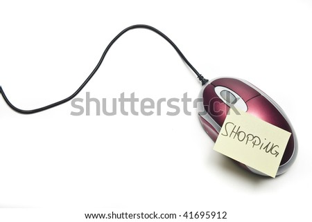 computer mouse in front of white background - stock photo
