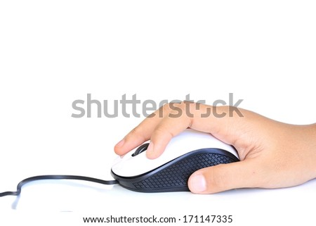 computer mouse in hand isolated on white - stock photo
